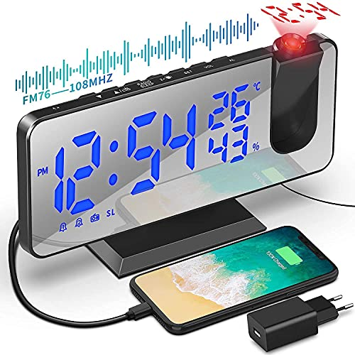 TAKRINK Reveil Projecteur Plafond, Radio Reveil Miroir FM, avec température et Port de USB, Double Réveil, Luminosité LED réglable, Réveil Digital pour la Chambre