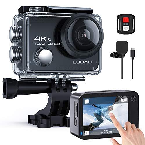 COOAU Action Cam 4K Nativo 60fps 20MP Touch Screen WiFi Sport Camera Stabilizzazione EIS Fotocamera Subacquea Impermeabile con Microfono Esterno Telecomando 2x1350Amh Batterie