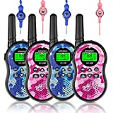 Walkie Talkies 4 Pack, 22 Channels Two Way Radio, Kids Toys Handheld Walkie Talkie, Range Up to 3 Miles with Backlit LCD Display, Best Gifts for 3-12 Years Old Boy Girls