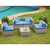 COSIEST 5-Piece Outdoor Furniture Set Warm Gray Wicker Sectional Sofa w Heritage Blue Cushions, Glass Coffee Table, 4 Stripe Woven Pillows for Garden, Pool, Backyard