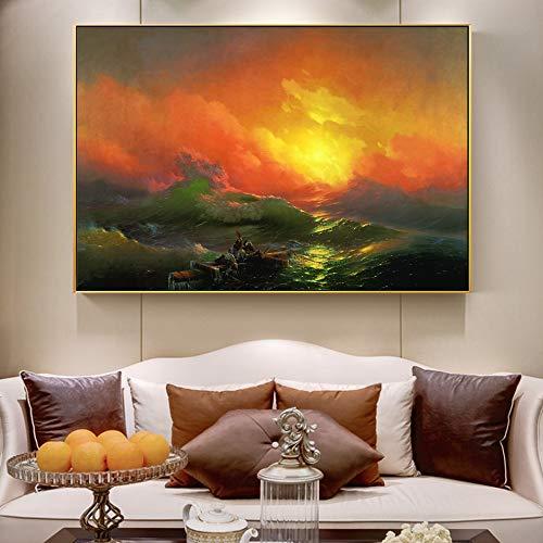 QWESFX Famoso dipinto sul muro, tela della nona parete, arte classica del paesaggio marino...