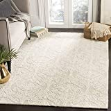 Safavieh Blossom Collection Handmade Wool Area Rug, 8' x 10', Silver/Ivory