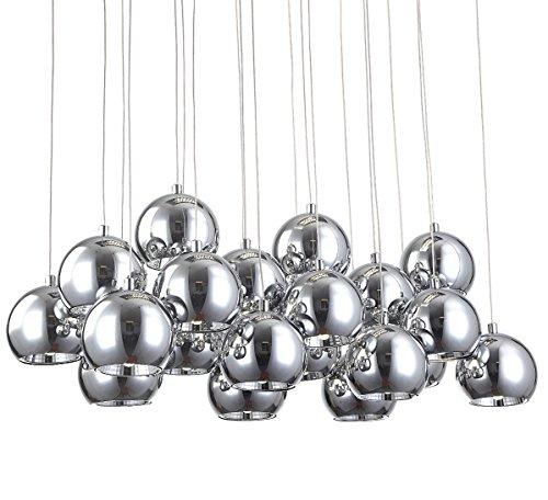 XL Led Hängeleuchte Deckenleuchte Deckenlampe Kronleuchter Pendelleuchte Lüster Lampe Leuchte Esszimmer Wohnzimmer Kugelleuchte modern edel Chrom Kugel 70x25 cm