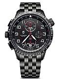Victorinox Homme Airboss Mach 9 Chronograph Black Edition - Montre en Acier Inoxydable/Cuir de Fabrication Suisse 241742