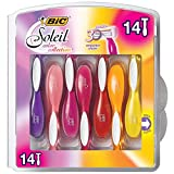 BIC Premium Shaving Razor Set with Aloe Vera and Vitamin E Lubricating Disposable Razors for Women, Strip Soleil Color, 14-Count, 3 Blades