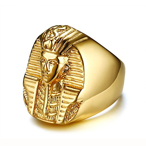 ASENER anillo en Acero Inoxidable de Faraón Akhnaton