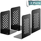 "MaxGear Bookends, 8"" Heavy Duty Slotted Bookend, Metal Book Ends for Shelves, Book End, Book Support, Book Stopper for Books/Movies/CDs, Home & Kitchen, Non-Skid, 8.2 x 4 x 5.8 inches, Black, 2 Pairs"