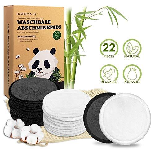 22 Stück Abschminkpads Waschbar, Wiederverwendbare Wattepads aus Bambus und Baumwolle, Make up Entferner Pads Perfekt für Gesichtsreinigung, Umweltfreundliche Produkte, 2 Farben mit Wäschesack