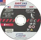 United Abrasives-SAIT 23101 A60S General Purpose Cut-Off Wheels (Type 1/Type 41 Flat) 4 1/2' x .045' x 7/8', 50-Pack