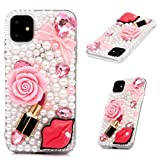 iPhone 11 Case, Mavis's Diary 3D Handmade Luxury Bling Sexy Red Lips Lipstick Pink Bow Love Heart Rose Flower Floral Shiny Crystal Diamond Glitter Rhinestones Gems Clear Hard PC Cover