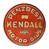 Brotherhood Penzbest Kendall Motor Oils 100% Pure Pennsylvania Oil Gasoline Petroleum Products Reproduction Car Company Garage Signs Metal Vintage Style Decor Metal Tin Aluminum Round Sign Home Decor