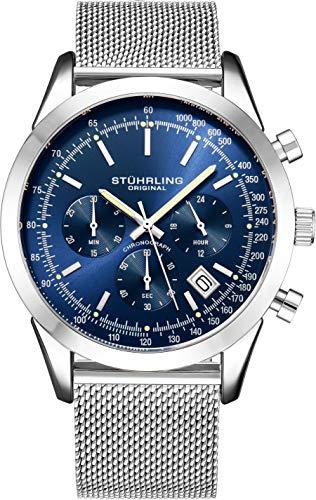 Stuhrling Original Herrenchronograph, Edelstahl-Maschenband und wasserdicht bis 100 M. (Blue)