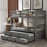 P PURLOVE Twin Over Twin Bunk Bed with Twin Trundle Bed Wood Bunk Bed Frame with Ladder Safety Rail 3 Storage Drawers for Teens (Gray)