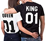 Minetom Femme Homme Couple T-Shirt Partner Look King and Queen Lettre...