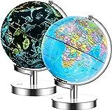 Exerz 23cm Globe Lumineux Support en métal - Carte en Anglais - Globe terrestre...