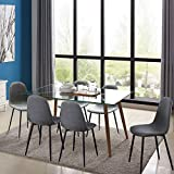 IDS Home Mid Century Clear Glass Dining Room Table Furniture Set for 4/6, Fabric Chairs with Sturdy Metal Leg (7 Pieces Set, Grey)