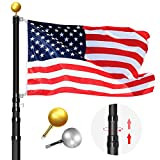 WinisKi Telescoping Flag Pole 20ft Black Extra Thick, Outdoor Heavy Duty Adjustable Height Aluminum Telescopic Flagpole Kit, Golden/Silver Balls Topper, 1 USA Flag, Fly 2 Flags, Residential Commercial