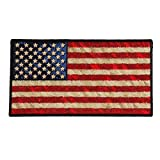 DISTRESSED AMERICAN FLAG, High Thread Iron-On / Saw-On Rayon PATCH - 5' x 3', Exceptional Quality