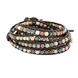 Emibele Leather Bracelet, Agate Bead Wrap Bracelet Handmade Jewelry Wrist Accessory for Women Lady Adult - Green