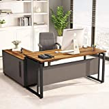 """LITTLE TREE L-Shaped Computer Desk, 55' Executive Desk Business Furniture with 39"""" File Cabinet..."""