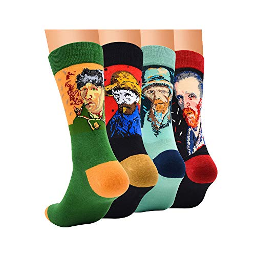 TTD Confezione da 4 uomini/donne famosa pittura arte stampato Funny calzino casuale equipaggio di cotone