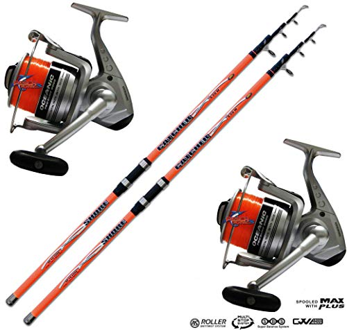 EVO FISHING Combo surfcasting Kit 2 pz Canna Surfcasting Catcher 420 + 2 PZ Mulinello Trabucco Oceanic 8000