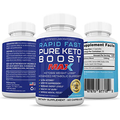 Rapid Fast Pure Keto Boost Max 1200MG Keto Pills Advanced BHB Ketogenic Supplement Exogenous Ketones Ketosis for Men Women 60 Capsules 1 Bottle 4