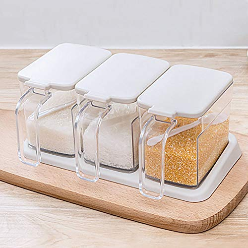 Clear Seasoning Rack Spice Pots,3 Piece Seasoning Box Set,Seasoning Containers With Lids And Spoon,Cruet Shaker...