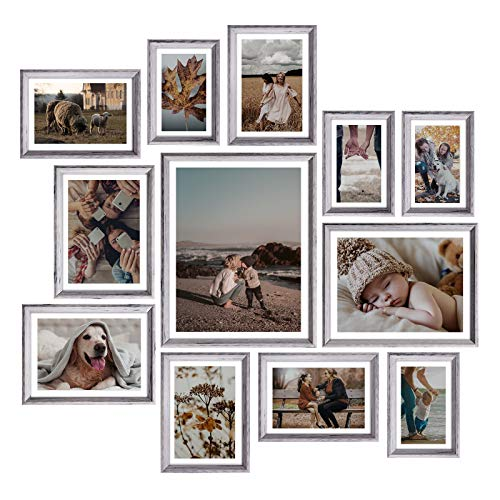 Homemaxs Picture Frames Set of 12, Rustic Picture Frames Collage...