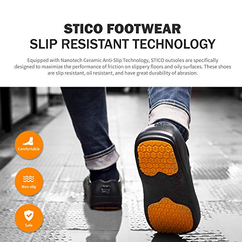 Product Image 2: STICO Men's Slip Resistant Chef Clogs, Professional Non-Slip Work Shoes with Air Vents for Restaurant Hospital Nursing Garden [Black/US Men 5]