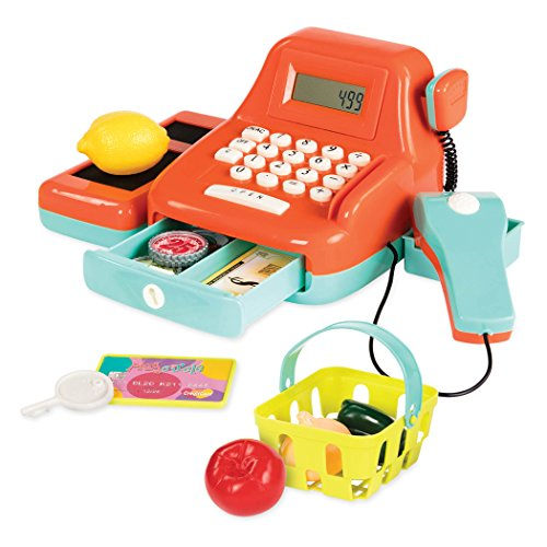 Battat B. Toys Cash Register Toy Playset  Pretend Play Kids Calculator Cash Register with Accessories for 3+ (26-Pieces) (BT2666Z), Orange