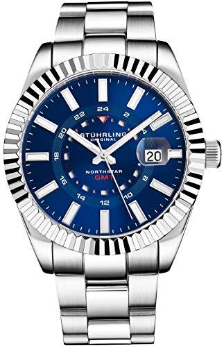 Stuhrling Original Herrenuhr Northstar aus Edelstahl, Schweizer Quarz, Dual Time, Datum mit Quickset, geriffelte Lünette, konisches Armband aus gebürstetem poliertem Armband (Blue)