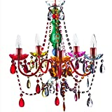 """5 Light Multicolor Hardwire Flush Mount Chandelier H21""""xW19"""", Red Metal Frame with Green Glass Stem and Multicolor Acrylic Crystals & Beads That Sparkle Just Like Glass"""