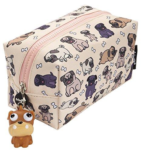 Fringoo - Grande astuccio quadrato per matite, cancelleria, sacchetto con cerniere e pupazzetto morbido sulla chiusura Grande Pugs World
