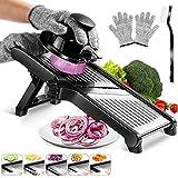 MASTERTOP Mandoline Gemüsehobel Edelstahl für Aufschneiden von Lebensmitteln, Obst und Gemüse, Mit 1 Reinigungsbürste und 1 Paar schnittfeste Handschuhe