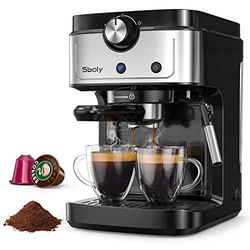Cafetera Espresso Sboly, Cafetera 2 en 1 para Nespresso Compatible con Café Molido y en...