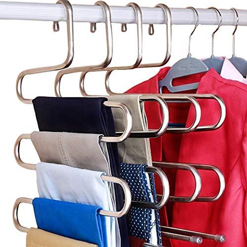 DOIOWN Grucce per Pantaloni Salvaspazio, Appendiabiti in acciaio inox tipo S, per pantaloni, jeans, sciarpe, 3 pezzi