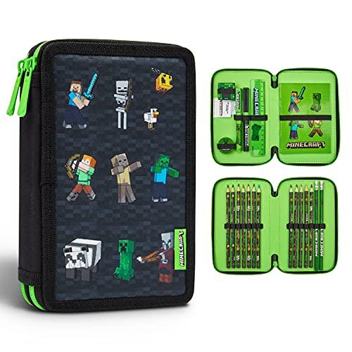 Minecraft Astuccio Scuola Elementare, Astuccio 2 Scomparti con Matite Colorate, Gomma da Cancellare, Matite, Penne, Righello e Temperino, Minecraft Gadget Originali
