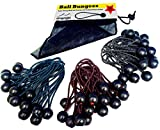 Premium Ball Bungee Cords - Quality 60 Pack of 3 Size Tarp, Banner &Canopy Fasteners – Heavy Duty Black UV Treated Stretch Tie Loops with Plastic Toggle – Color Coded Cord to Indicate Size, 60 Pack