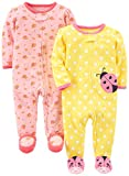 Simple Joys by Carter's Baby Girls' 2-Pack Cotton Footed Sleep and Play, Pink Floral/Ladybug, Newborn