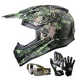GLX Unisex-Child GX623 DOT Kids Youth ATV Off-Road Dirt Bike Motocross Helmet Gear Combo Gloves Goggles for Boys & Girls (Camouflage, Large)