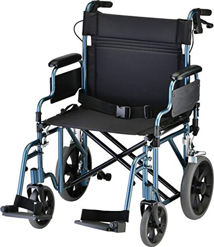 NOVA Medical Products Bariatric Transport Chair with Locking Hand Brakes, 22' Blue