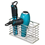 mDesign Farmhouse Metal Wire Bathroom Wall Mount Hair Care & Styling Tool Organizer Storage Basket for Hair Dryer, Flat Iron, Curling Wand, Hair Straightener, Brushes - Holds Hot Tools - Satin