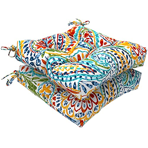 """LVTXIII Indoor/Outdoor Square Tufted Wicker Seat Cushions Pack of 2, Patio Decorative Thick Chair Pads Seat Cushions Set for Patio Garden Home, 19""""x19""""x5"""", Paisley Multi"""
