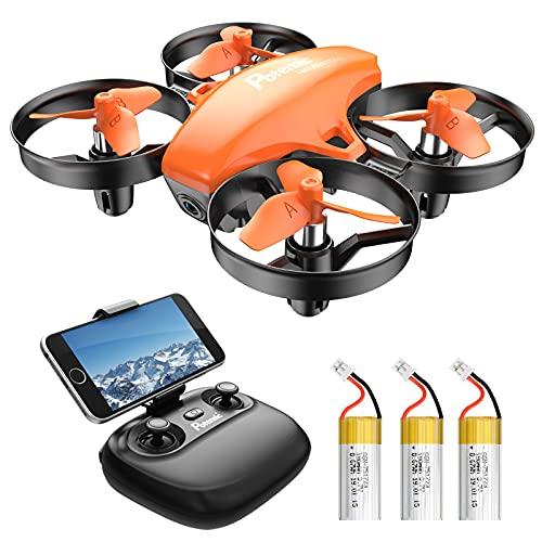 Potensic Mini Drone con 3 Batterie con Telecamera HD, Droni per bambini A20W WiFi FPV RC Quadricottero 2.4GHz Giroscopio a 6 Assi Mantiene l'Altitudine, Modalit Senza Testa per Bambini e Principianti