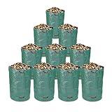 Schramm 10 pièces Sacs de Jardin 300L Vert Tissu polypropylène Robuste PP déchets...