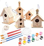 Decoroca 5PCS Unpainted Wooden Birdhouses - Fun Express DIY Bird Houses Kit, Birdcages for Outdoors Hanging, Birdhouse to Paint for Kids (Includes Watercolor Paints Tools)