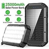 FKANT Chargeur Solaire 25000 mAh Batterie Externe Solaire 3 Ports de Sortie...