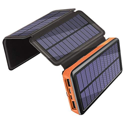 Caricabatterie Solare 25000mAh, Banca di Potere di 3A Carica Rapida, Portatile Antiurto Power Bank...