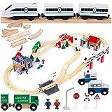 Kinderplay Train en Bois Enfant, Circuit Train Enfant - Trains et Véhicules & Rails Pack - Train, Circuit Train Electrique, Circuit Long de 378 cm, GS0010
